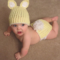Easter Bunny Hat and Diaper Cover- newborn to 6 months