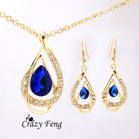 Free shipping Women's 18k Yellow Gold Plated Ruby/White/Blue Sapphire Austrian Crystal Chain Necklace + Earrings Jewelry Sets
