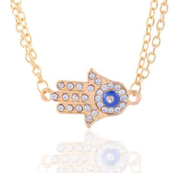 Encounter Gold Tone Hamsa Hand of Fatima Pendant with White Rhinestones Double Layer Long Chain Necklace