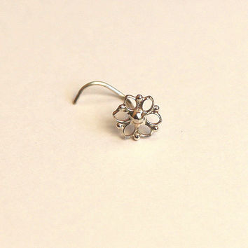 Mandala Nose stud - nose jewelry - silver nose stud - Silver nose stud 925 -  stud - gipsy style - young at heart