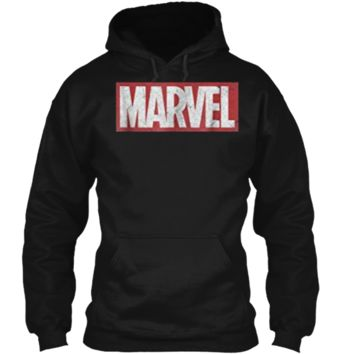 Marvel Classic Distressed Logo Graphic  Pullover Hoodie 8 oz