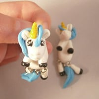 fake gauge plug two part earrings unicorn , Polymerclay, handmade