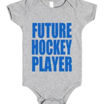 Future Hockey Player-Unisex Heather Grey Baby Onesuit 00