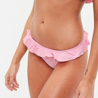 Missguided - Pink Frill Bikini Bottoms - Mix & Match