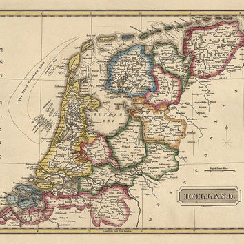 Antique Map of the Netherlands (Holland) (c1817) by Fielding Lucas - Archival Reproduction