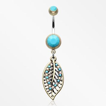 Vintage Boho Ornate Leaflets Belly Button Ring