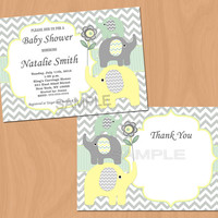 Gender Neutral Baby Shower Invitation Elephant Baby Shower Invitation Baby Shower Invites (88) - Free Thank You Card - Instant Download