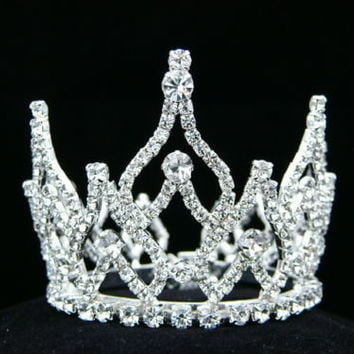 Bridal Wedding Rhinestone Crystal Prom Party Mini Bun Crown Tiara 8085