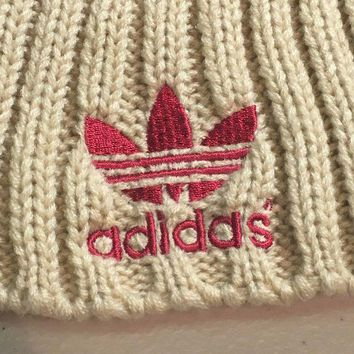 CUPUPI8 BRAND NEW ADIDAS RED WITH BEIGE POMPOM KNIT HAT SHIPPING