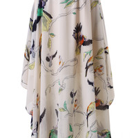 Birds Print Asymmetric Waterfall Skirt White