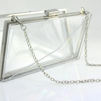 7 3/4 x 4 1/4 inches - Transparent Plastic Box - Nickel Clutch Frame with 48 inches Chain (CBF-TR01)
