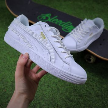 Best Online Sale Puma Suede Heart All White Lace Women Shoes Sneaker