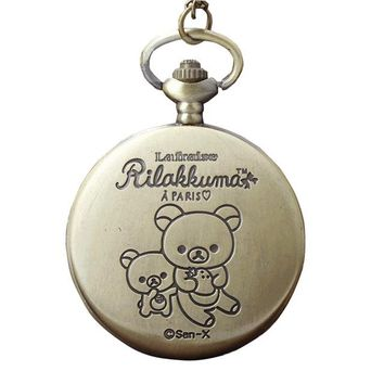 Lovely Kawaii Cartoon Cute Pocket Watch Doll Rilakkuma Bear Necklace Pendant Chain Quartz Clock Relogio De Bolso Kids Watches
