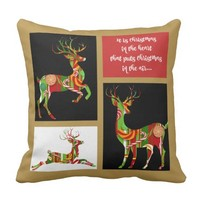 Holiday Pillow, Xmas Candy Reindeer on Gold Throw Pillow