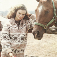 White Buffalo Pattern #15.  Cowichan Salish style sweater, Wool cardigan, Adult, Native Canadian, hippy, West coast, stranded his and hers