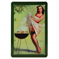 Pin Up BBQ Metal Sign | Vintage Inspired
