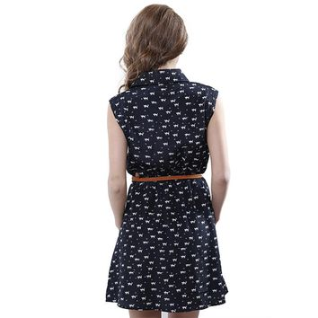 Hot Sale 2016 New Fashion Cat Footprints Women Dresses With Belt Brief A-line Mini Dress Sleeveless Femininas Summer Clothing