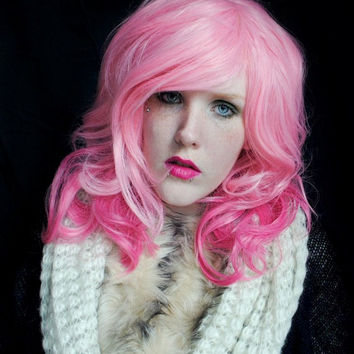SALE Pink wig, pink scene wig, curly pink wig, cosplay wig // Pink Wavy Curly Hair // Lolita Pretty Sweet Scene // Strawberry Dream