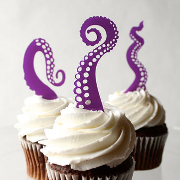 6 Tentacle Cupcake Toppers (Acrylic)