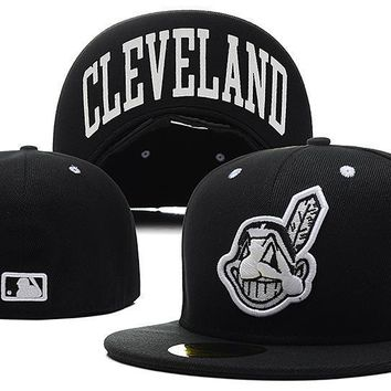 PEAPON Cleveland Indians New Era MLB Authentic Collection 59FIFTY Cap Black HAT