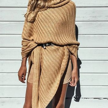 Khaki Cowl Neck Asymmetric Hem Pull-on Knit Poncho