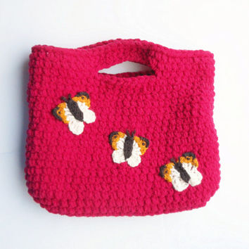 Crochet Butterflies Clutch Purse in Red with Plaid Flannel Lining, ready to ship.