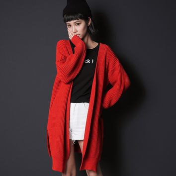 Red Long-Sleeve Button Long Knitted Cardigan