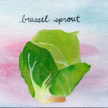 Brussel Sprout Acrylic and Watercolor Painting, Kitchen Painting, Home Decor, Wall Art