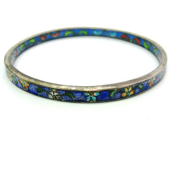 Cloisonne Bangle Bracelet. Narrow Vintage Chinese Blue Enamel w/ Flowers. Cloisonne Interior. Stacking. Antique 1920s Asian Jewelry. Lg Sz
