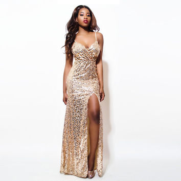 2016 Gold Sequin Maxi Dress Elegant Evening Paillette Robe Sexy high slit Bustier Dress spaghetti strap v neck mermaid dresses