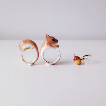 Mary Lou Enamel Brown Orange Squirrel and Acorn Ring Set Free Shipping