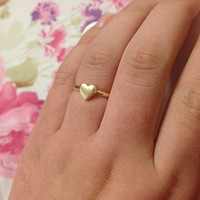 Tiny 14K or Platinum Heart ring