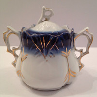 Antique Flow Blue Sugar Bowl from Germany , beautiful
