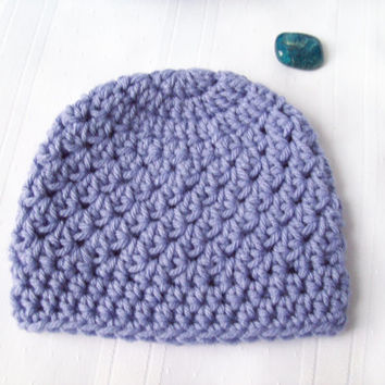 Purple Crochet Baby Hat // Newborn Girl Hat // Textured Crochet Baby Beanie