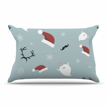 "Louise ""Happy New Year!"" Christmas Teal Santa Pillow Sham"