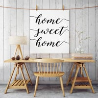 PRINTABLE ART Home Sweet Home Entry Way Wall Art Calligraphy Print Chalkboard Quote Print Kitchen Wall Art Dining Room Print Apartment Decor