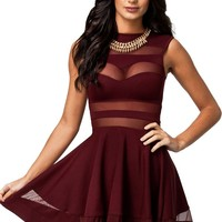 made2envy Mesh See Through Sheer Block Skater Sleeveless Mini Dress (XL, Burgundy)