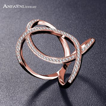 New Arrival Female Full Cross Shaped Finger Ring Tiny CZ Paved Fashion Jewelry Oval Hollow Rings For Women CRI1060