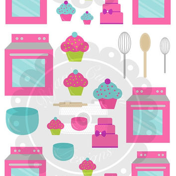 ON SALE Baking Planner Stickers | 53 Stickers | Erin Condren | Planner | Custom | Cute | Baking | Cupcake | Oven | Stove | Cooking