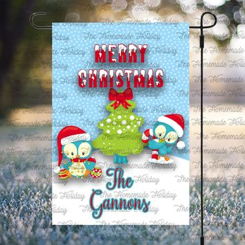 Personalized Christmas Birds Flags
