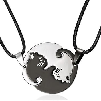 Titanium Steel Animal Cat Pendants Necklace