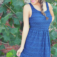 Placed In Lace Dress: Navy Blue | Hope's