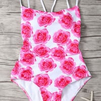 Back Strappy Floral Print One Piece Swimwear