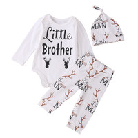 3pcs Clothes suit Newborn Baby Boy Little Brother letter printed cartoon Romper Tops +Deer long Pants + cartoon hat Clothing Set