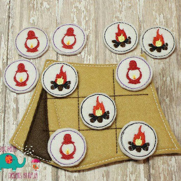 Tent camping tic tac toe game embroidered, board game activity travel game quiet game busy bag felt board play set campfire lantern