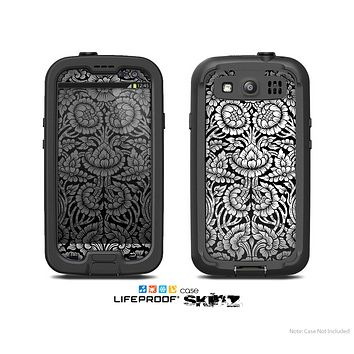 The Black & White Mirrored Floral Pattern V2 Skin For The Samsung Galaxy S3 LifeProof Case