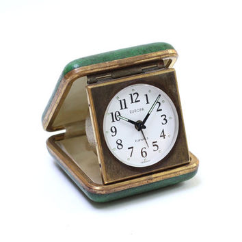 Vintage Green Europa Germany Mechanical Folded Brown Leather Travel Alarm Clock , Germany Watch, ohtteam, Germany Vintage