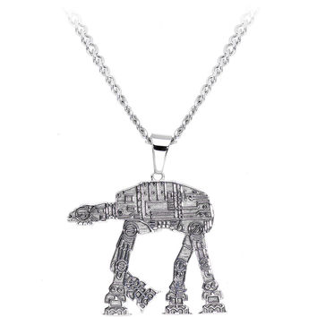 Licensed Steel Star Wars AT-AT Walker Pendant Necklace