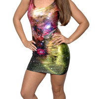 Galaxy Sleeveless Mini Dress Size Medium Design 3072