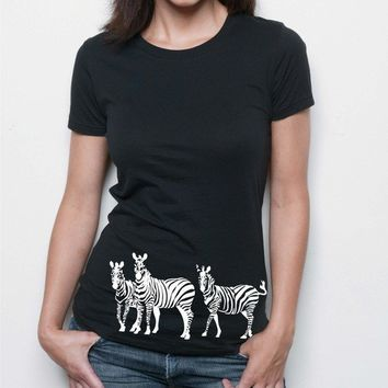 Zebra tshirt on Women's Alternative Apparel tee by rctees on Etsy